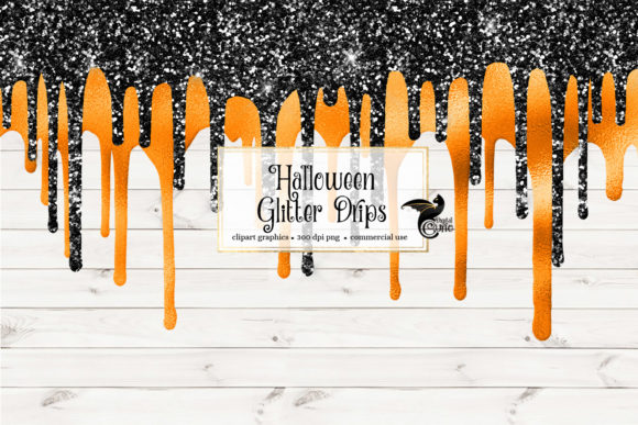 Print on Demand: Halloween Glitter Drips Clipart Gráfico Ilustraciones Por Digital Curio