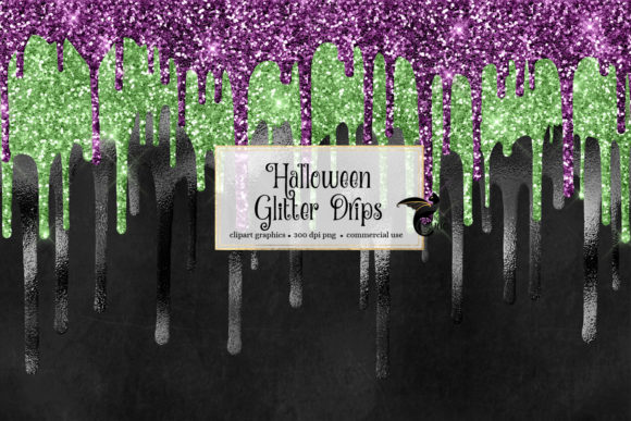 Halloween Glitter Drips Clipart Graphic Download