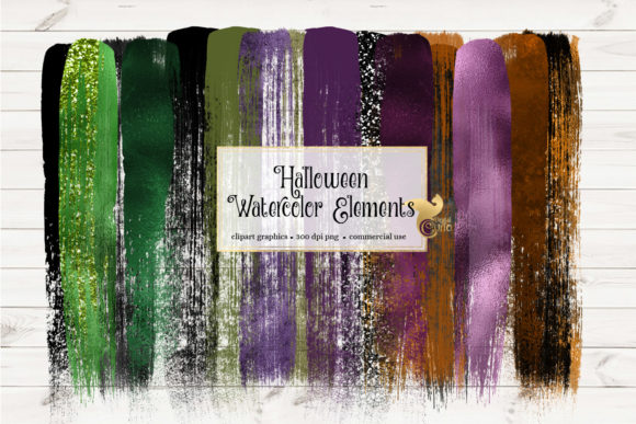 Print on Demand: Halloween Watercolor Elements Clipart Graphic Illustrations By Digital Curio