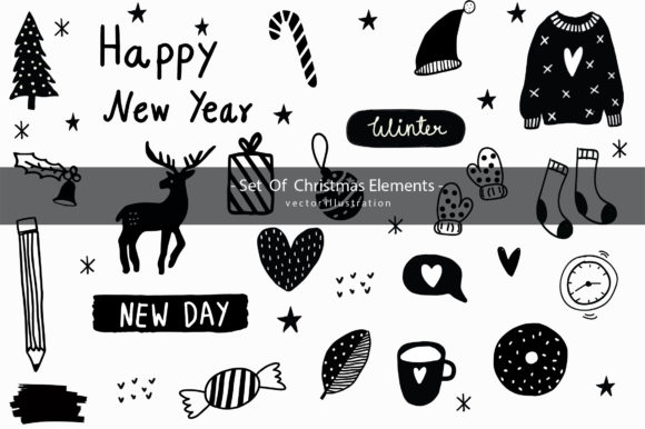 Print on Demand: Hand Drawn Doodle Christmas Day Clipart Graphic Illustrations By Zweed n roll