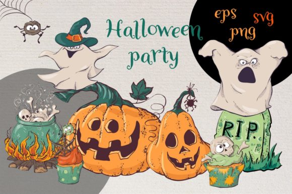 Print on Demand: Hand Drawn Halloween Party Graphic Crafts By nicjulia