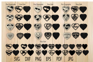 Print on Demand: Heart Earring Templates Bundle Graphic Crafts By yulnniya