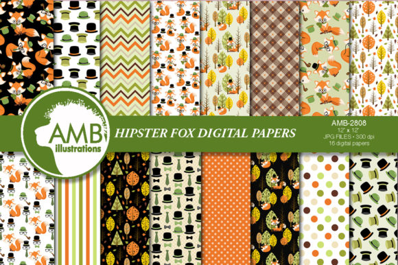 Hipster Fox Papers Graphic Patterns By AMBillustrations