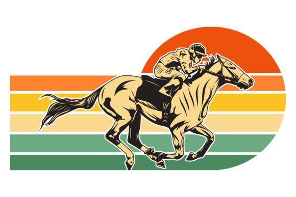 Print on Demand: Horse Racing Retro Sunset PNG File Graphic Logos By SunandMoon