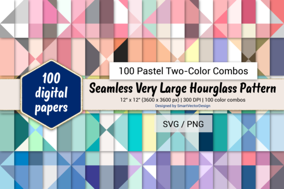 Print on Demand: Huge Hourglass - 100 Two-Color Pastels Graphic Backgrounds By SmartVectorDesign