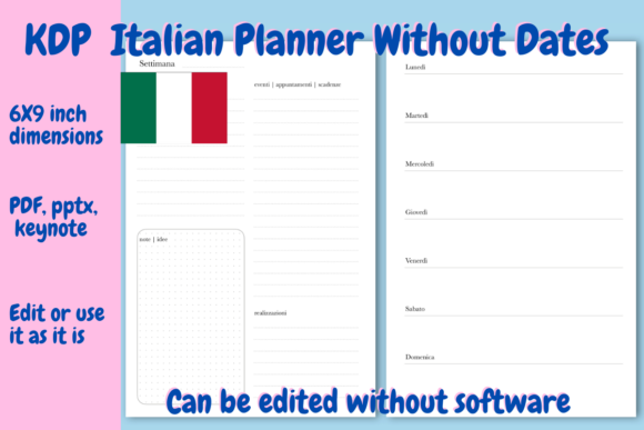 Print on Demand: Italian Undated Planner for KDP Graphic KDP Interiors By Income Plum