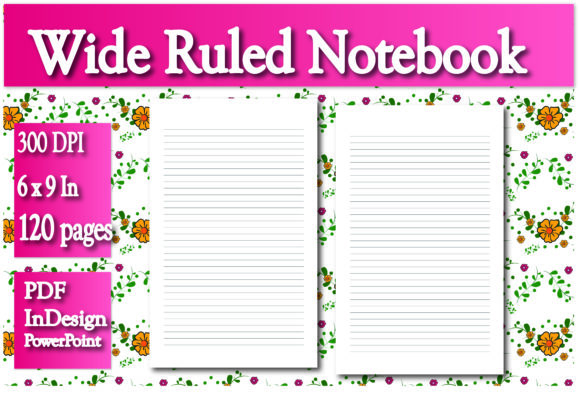 Print on Demand: KDP Wide Lined Notebook Interior Graphic KDP Interiors By Ivana Prue