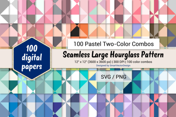 Print on Demand: Large Hourglass Paper-Two-Color Pastels Graphic Backgrounds By SmartVectorDesign