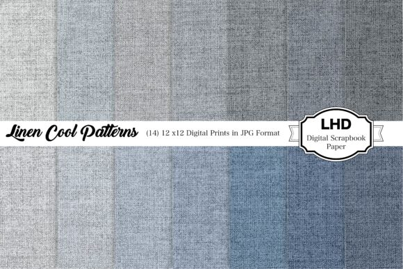 Linen Blues Digital Paper Pack Graphic Patterns By LeskaHamatyDesign