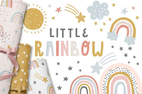Little Rainbow Patterns and Graphic Set Graphic Illustrations By dottyink