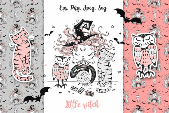 Little Witch Halloween  Graphic Illustrations By grigaola