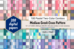 Print on Demand: Med Greek Cross - 100 Two-Color Pastels Graphic Backgrounds By SmartVectorDesign