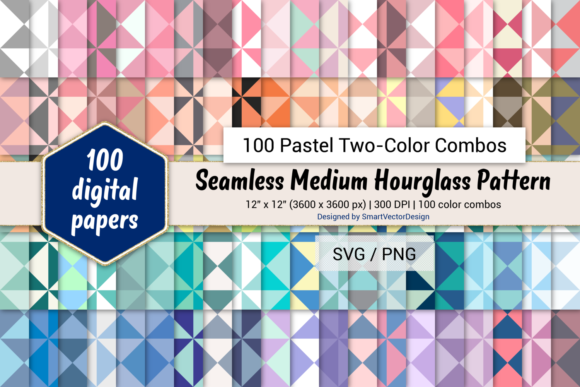 Print on Demand: Medium Hourglass - 100 Two-Color Pastels Graphic Backgrounds By SmartVectorDesign