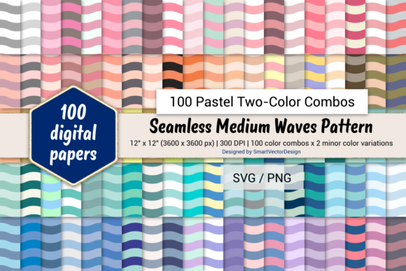 Print on Demand: Medium Waves - 100 Two-Color Pastels Graphic Backgrounds By SmartVectorDesign