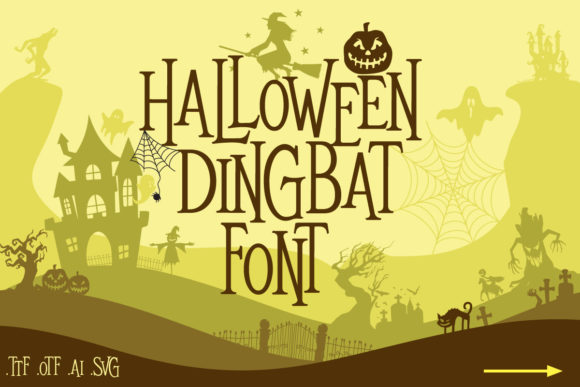 Print on Demand: Mitoos Halloween Dingbats Font By svgsupply