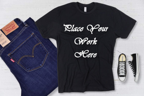 Mockup Black T-shirt, Jeans, Sneakers Graphic Product Mockups By Mockup Shop
