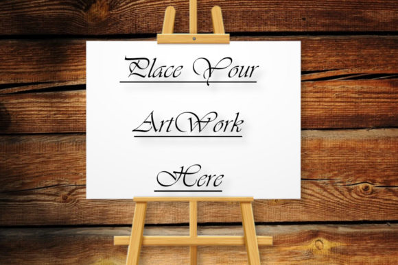 Mockup Easel Painting, Wood Background Graphic Product Mockups By Mockup Shop