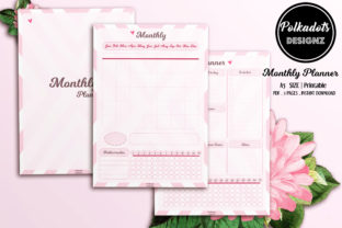 Monthly Planner Printable - Pink Heart Graphic Print Templates By Polkadots Designz