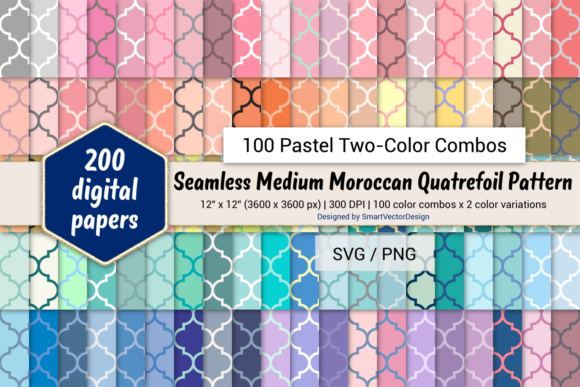 Print on Demand: Moroccan Quatrefoil - Two-Color Pastels Graphic Backgrounds By SmartVectorDesign