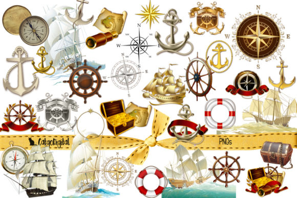 Print on Demand: Nautical Marine Sea Clip Art  Grafik Plotterdateien von CatgoDigital