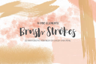 Print on Demand: Pink and Gold Brush Strokes + Bonus Graphic Illustrations By MutchiDesign