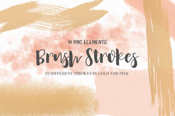 Print on Demand: Pink and Gold Brush Strokes + Bonus Graphic Illustrations By loyaarts
