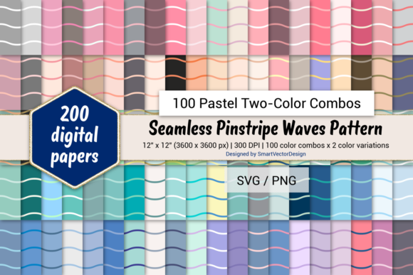 Print on Demand: Pinstripe Waves - 100 Two-Color Pastels Graphic Backgrounds By SmartVectorDesign