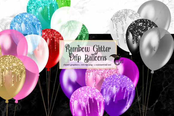 Print on Demand: Rainbow Glitter Drip Balloons Clipart Graphic Illustrations By Digital Curio