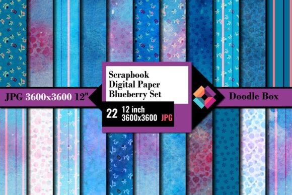 Scrapbook Digital Paper Blueberry Set Graphic Backgrounds By DoodleBox