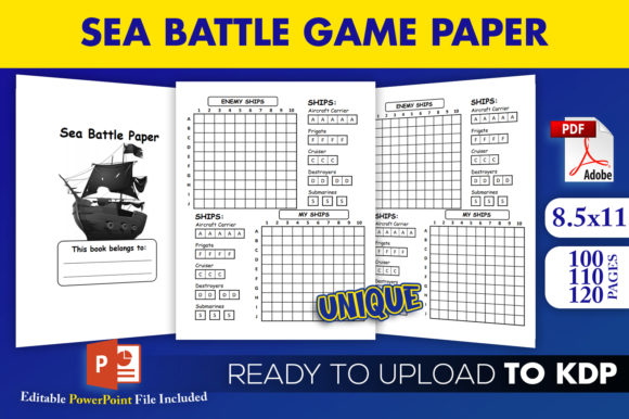 Print on Demand: Sea Battle Paper Game | KDP Interior Graphic KDP Interiors By Beast Designer
