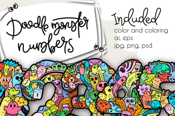 Print on Demand: Set of Funny Doodle Monster Numbers Graphic Illustrations By Drekhann