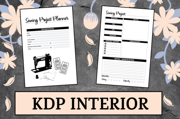 Print on Demand: Sewing Project Planner | KDP Interior Graphic KDP Interiors By Hungry Puppy Studio