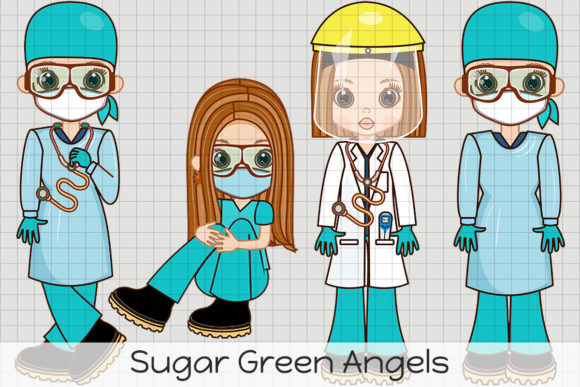 Sugar Green Angels Graphic Illustrations By Dolls To Go