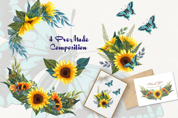 Sunflower Hand Drawn Set Graphic Preview