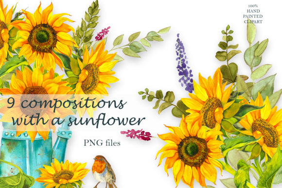Sunflower Watercolor Clipart Summer Boho Grafik Illustrationen von ElenaZlataArt