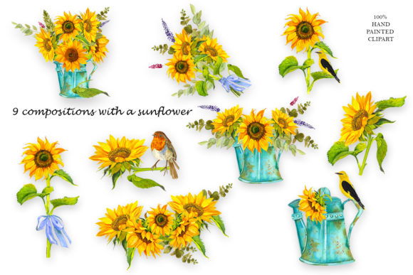Sunflower Watercolor Clipart Summer Boho Graphic Download