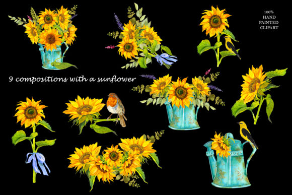 Sunflower Watercolor Clipart Summer Boho Graphic Item