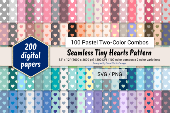 Print on Demand: Tiny Hearts Paper-100 Two-Color Pastels Graphic Backgrounds By SmartVectorDesign