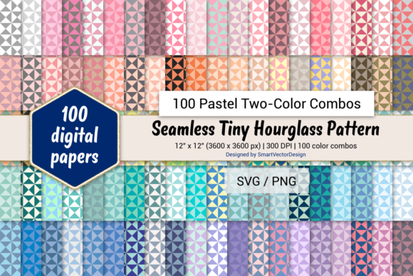 Print on Demand: Tiny Hourglass - 100 Two-Color Pastels Graphic Backgrounds By SmartVectorDesign
