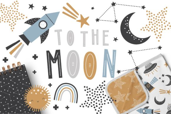 To the Moon Patterns and Graphic Set Gráfico Moldes Por dottyink