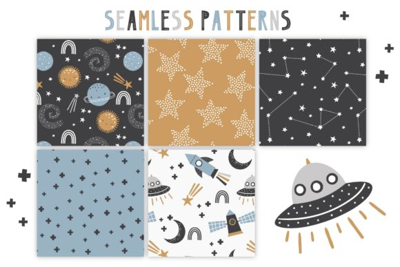 To the Moon Patterns and Graphic Set Graphic Item