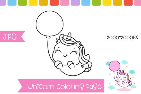 Unicorn Coloring Balloon Page Preschool Graphic Coloring Pages & Books Kids By vividdiy8