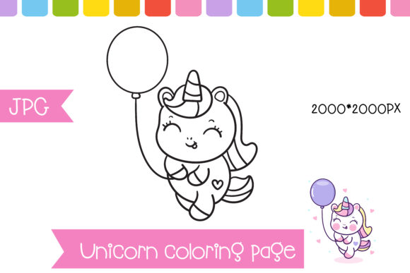 Unicorn Hold Balloon Coloring Page Graphic Coloring Pages & Books Kids By vividdiy8