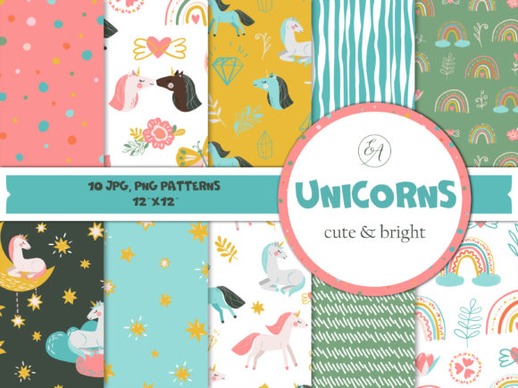 Unicorns - Baby Seamless Patterns Graphic Patterns By lena-dorosh