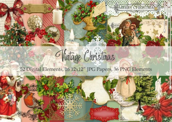 Print on Demand: Vintage Christmas Graphic Illustrations By Simply Paper Craft