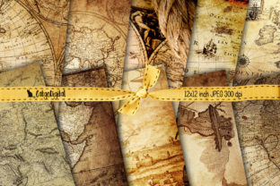 Print on Demand: Vintage Maps Background Papers Graphic Textures By CatgoDigital 1