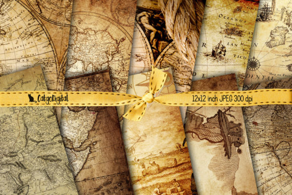 Print on Demand: Vintage Maps Background Papers Grafik Texturen von CatgoDigital