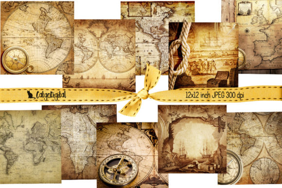 Print on Demand: Vintage Maps Background Papers Graphic Textures By CatgoDigital - Image 2