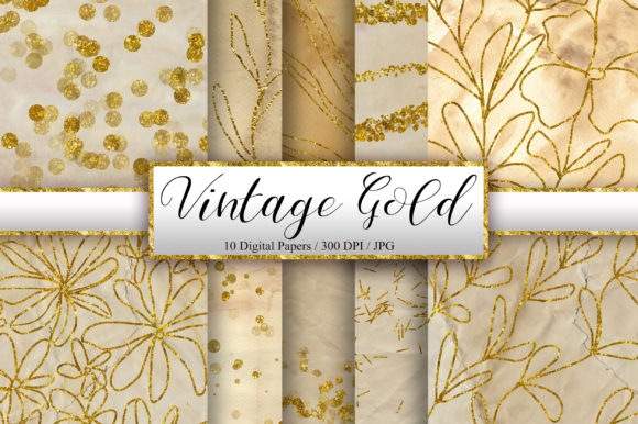 Vintage Paper Gold Glitter Background Graphic Backgrounds By PinkPearly