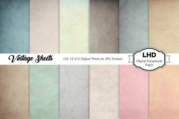 Vintage Sheets - Digital Paper Graphic Patterns By LeskaHamatyDesign